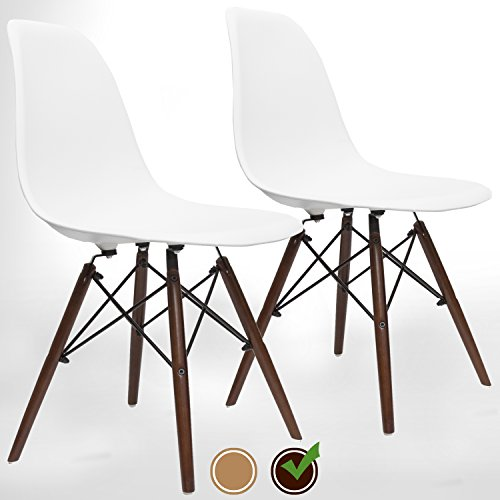 UrbanMod Eames Style Modern Dining Armless Side Chairs (Set of 2) Walnut Legs | Molded White ABS Plastic With Wood & Black Accents Iconic American Mid-Century Styling by UrbanMod