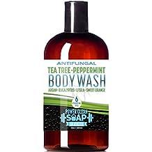 Antifungal Tea Tree Peppermint Body Wash w/SIX Essential Oils 12oz - with Eucalyptus, Argan, Sweet Orange, and Litsea | Wash Away Athlete's Foot, Jock Itch, Ringworm | Moisturize Itchy Dry Skin