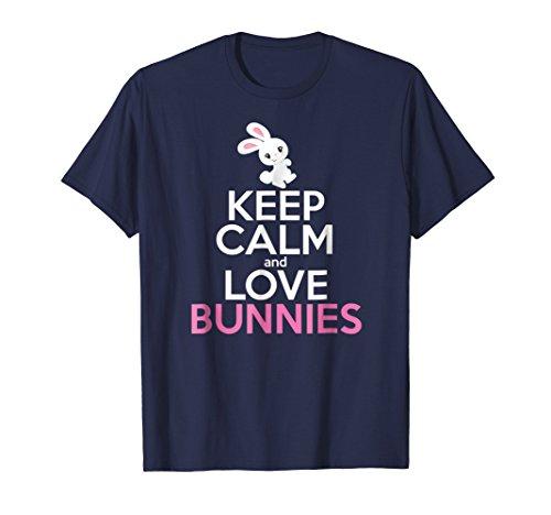 Bunny Shirt Girls Women KEEP CALM LOVE BUNNIES Tee Mom Gift -