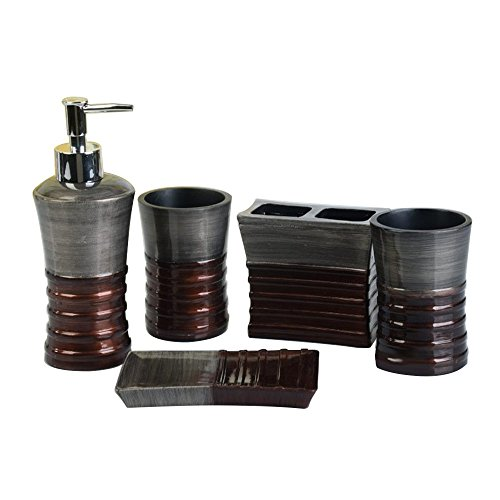 Resin Bath Accessories - 5 Pices Bathroom Accessory Set Resin Soap Dish, Soap Dispenser, Toothbrush Holder & Tumbler