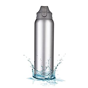 MIRA Double Walled BPA Free Vacuum Insulated Sports Water Bottle   Leak-proof Wide Mouth Stainless Steel Water Bottle   34 Oz (1000 ml)   Gray