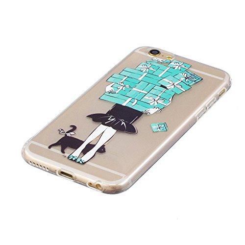iPhone 6/6S 4.7 Funda gel del silicón del Clear + [protector libre de la pantalla],KaseHom Premium Transparente Flexiable [A prueba de golpes] Caucho TPU Parachoques [Durable Anti Scratch]Cubierta pr Chica de Caja de Regalo
