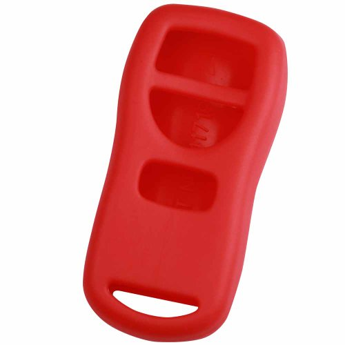 KeyGuardz Red Rubber Keyless Entry Remote Key Fob Skin Cover Protector (Nissan Frontier Key Cover compare prices)