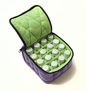 16-Bottle Essential Oil Carrying Cases hold 5ml, 10ml and 15ml bottles - Lavender with Aqua Green interior - 4