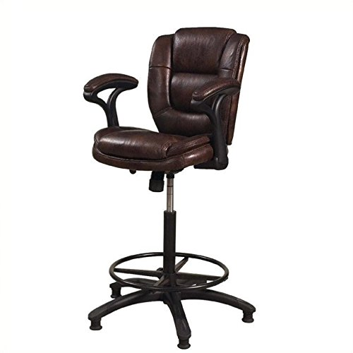 Hillsdale Furniture 4585-826 Dawson Adjustable Bar Stool 44-48'' H x 26'' W x 19'' D 25-31'', Brown