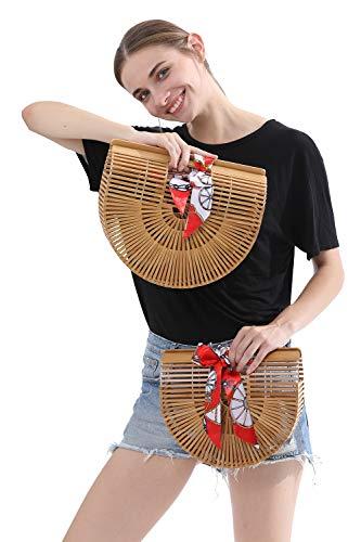 fe5f22a76 ... Obosoyo Women's Handmade Bamboo Handbag Summer Beach Sea Tote Bag Beige  Large ...