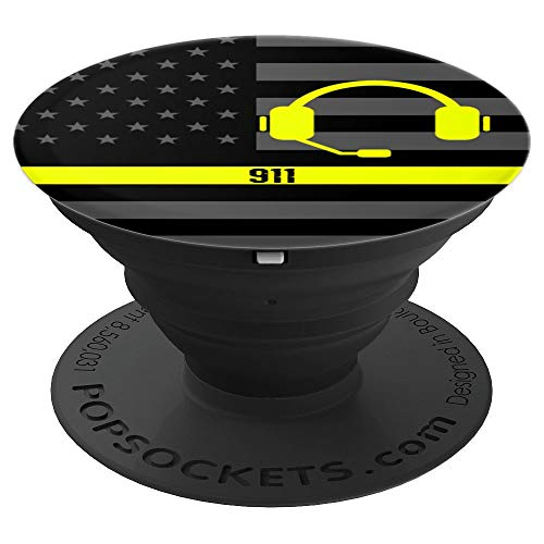 Thin Gold Yellow Line Police 911 Dispatcher - PopSockets Grip and Stand for Phones and Tablets ()
