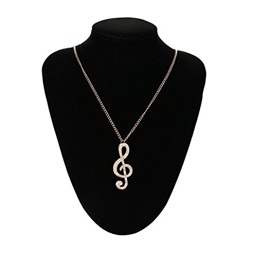 - Caopixx Ladies Necklace,Women Crystal Music Note Pendant Girl Rhinestone Chain Sweater Necklace (Gold, Alloy)
