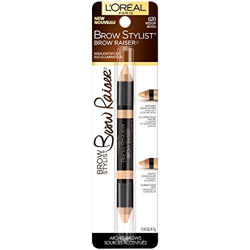(L'Oréal Paris Brow Stylist Brow Raiser Highlighter Duo, Deep, 0.16 oz.)