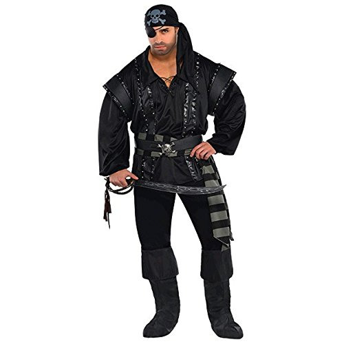 Amscan 844216 Adult Dark Sea Scoundrel Pirate Costume Plus Size, 2X-Large, Black