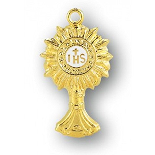 Gold Overlay Sterling Silver Monstrance Pendant with 18