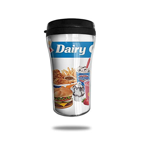 WIWIS Dairy Queen Logo and Font Touchup Shadow Chocolate Dipped Cone Cheeseburger Chicken Strip Basket Hot Fudge Sundae Blizzard Treat 8 Ounce Thermal Mug Tea Mug