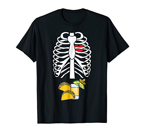 Tequila Tacos Skeleton Funny Halloween Costume T-shirt ()