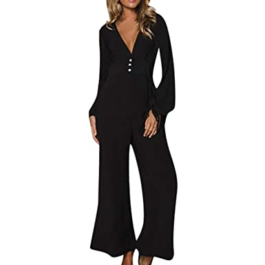 85b79c8e79f9 LUBITY Combinaison Femme Sexy Col V Profond Noir Grande Taille Manches  Longues Casual Taille Haute Large