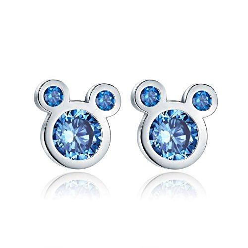 Presentski Sterling Silver Cute Mouse Blue Stud Earrings For Women Girls Kids Children Toddlers (Child Kid Earring)