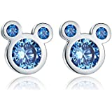 Presentski Sterling Silver Cute Mouse Blue Stud Earrings For Women Girls Kids Children Toddlers (Blue)