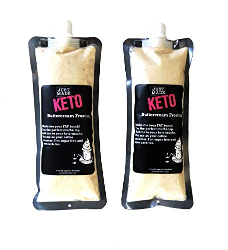 Just Made Keto Buttercream Frosting 10 oz (2 Pack) - The Sugar Free, Carb Free, Shelf Stable, Keto Friendly Desert Topper!