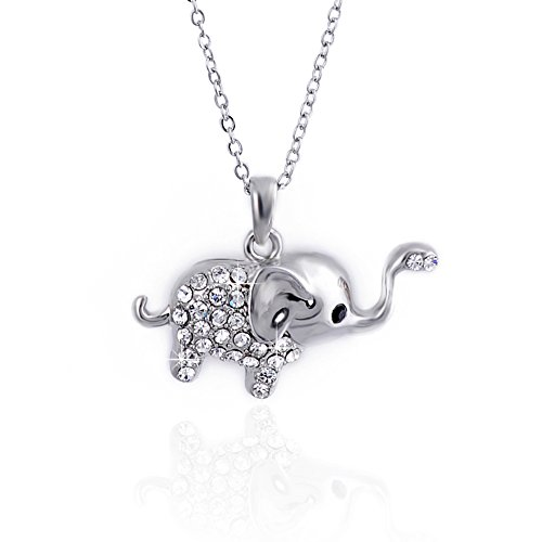 CODACE Elephant necklace fashion jewelry animal with Austrian Crystal and alloy chain for girl (Necklace Swarovski Elephant)
