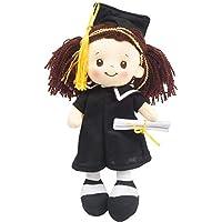 "Linzy Congratulations 12"" Cloth Rag Doll with Graduation Cap & Gown, Brown Hair"