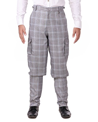 (ThePirateDressing Steampunk Victorian Cosplay Costume Mens Airship 100% Cotton Pants Trousers C1348 (Grey+ Blue Check (100% Cotton Fabric)))