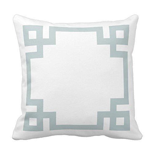 Decors Cloud Blue and White Greek Key Border Pillow