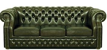 Casa-Padrino Lujo Genuino Cuero sofá 3 plazas Verde ...