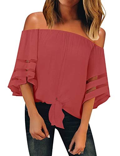 (LookbookStore Women's Casual Off Shoulder Mesh Panel Tie Knot 3/4 Bell Sleeve Shirt Loose Summer Blouse Tops Tea Rose Size X-Large)