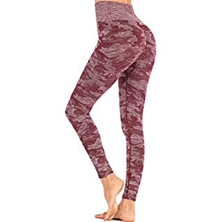 RUNNING GIRL Camo Leggings Gym Scrunch Butt Seamless High Waisted Tummy Control Stretch Workout Yoga Pants for Women (CK2365 Wine Red, M)