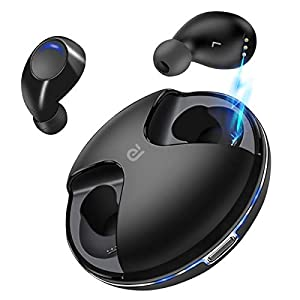 Wireless Earbuds,Kissral Bluetooth 5.0 True Wireless Earbuds 15H Playtime Deep Bass HD Sound Bluetooth Headphones Built-in Mic Portable Charging Case-Black