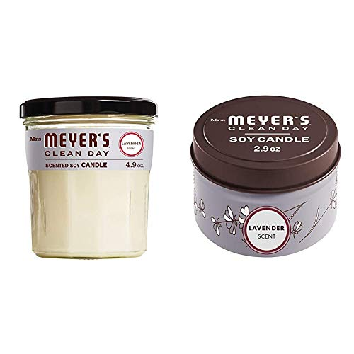 Mrs. Meyer's Clean Day Soy Tin and Glass Candle Bundle – Made with Essential Oils, 25 Hour Burn Time, Lavender Scent, 2…