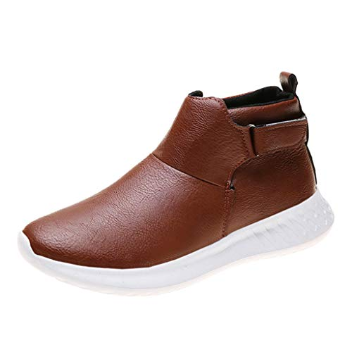 Kauneus Womens Soft Comfortable Leather Sport Shoes Round Toe Velcro Buckle Solid Casual Ankle Booties Brown from Kauneus Fashion Shoes