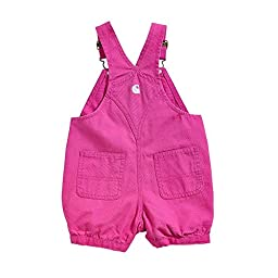 Carhartt Baby Girls\' Canvas Bib Shortall, Dark Pink, 18 Months