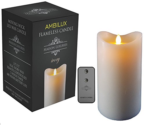 flameless candles with timer ambilux by maison luxuries moving wick unscented 28703