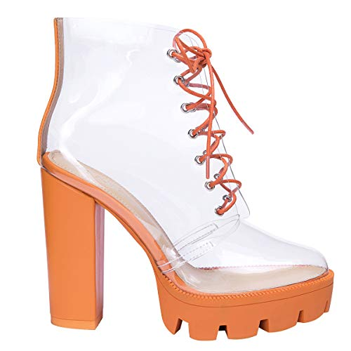 OLCHEE Women's Fashion Clear Lace Up Ankle Boots - Transparent TPU Platform Block High Heels - Orange Size 6