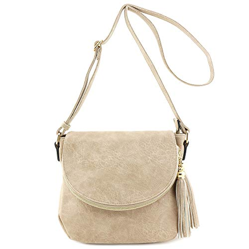 Tassel Accent Crossbody Bag with Flap Top (Sand) ()