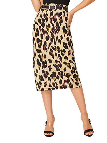 WWDIRARA Women's Vintage Leopard Print Mid Waist Long Split Side Belted Skirt Multicolor M