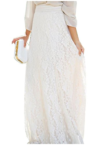 Comfy Women Slim Fit Sexy Waistband Stretchy Solid Lace Long Skirt White L