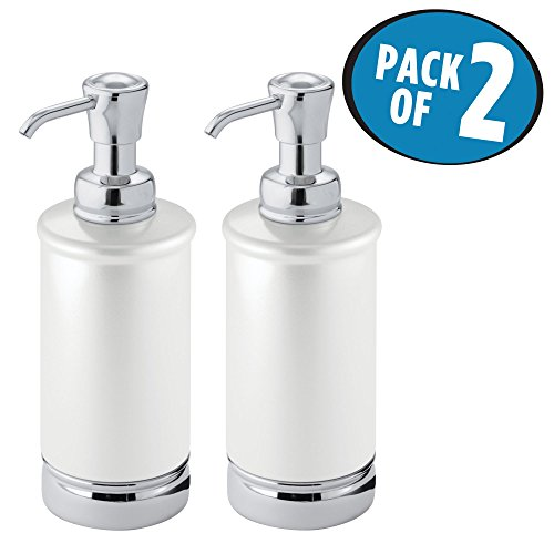 Soap Dispenser Pump Bottle for Kitchen, Bathroom | Also Can be Used for Hand Lotion & Essential Oils - Pack of 2, Tall, Pearl White/Chrome (Essentials White Pearl)