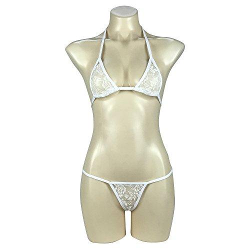 Afom Women Sexy Lace See Through Halterneck Mini Micro Bikini G String Bottom (White)