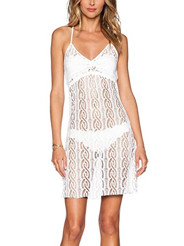 REPHYLLIS Women Fashion Sexy Sleeveless Beach Wear Bikini Summer Swimsuit Cover Up Beach Dress White XL