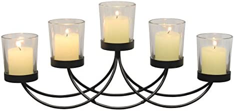 Briarwood Black Metal Votive Candelabra, Decorative Candle Centerpiece, Elegant Candle Holders, Centerpiece for Weddings, Parties, Dining Table, and Mantel