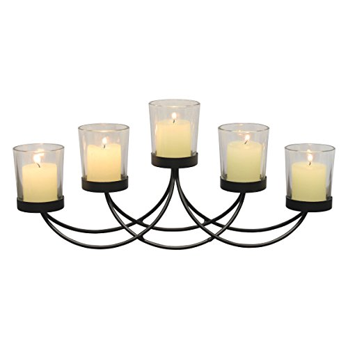 Briarwood Black Metal Votive Candelabra, Decorative Candle Centerpiece, Elegant Candle Holders, Centerpiece for Weddings, Parties, Dining Table, and Mantel -