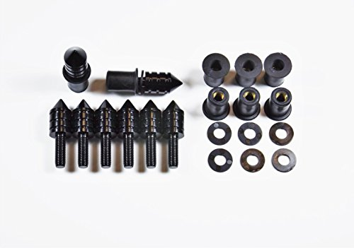 Universal Black Spike Bolt WellNut Kit - Windscreen Replacement Kit, Replaces Windshields on Honda Kawasaki Suzuki Yamaha Ducati Triumph - 8 Bolt Set