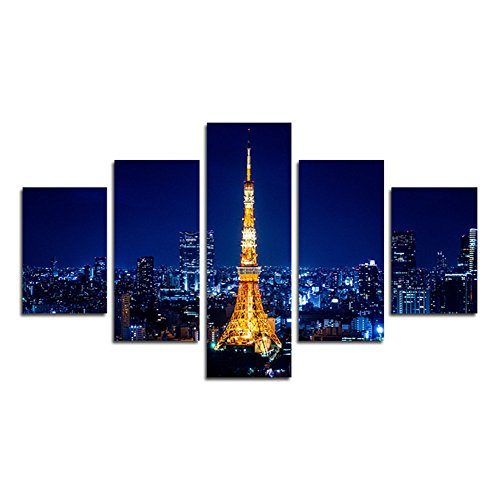 SwmArt Piece Printed city landscape night Tokyo Tower photo on canvas landscape urban building landscape room of wall of the decoration home of canvas of art (no frame) Swm298 50 inch x30 (50 Inch Media Tower)