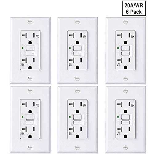 [6 Pack] BESTTEN Slim WR GFCI Outlet, 20-Amp 125-Volt, Outdoor-Weather-Resistant, Self-Test GFI Tamper-Resistant (TR) Receptacle with LED Indicator, Decorator Wall Plate Included, UL Listed, ()