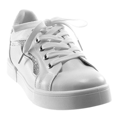 db928f4b5548d ... Angkorly Damen Schuhe Sneaker - Sporty Chic - Tennis - Glitzer - Fertig  Steppnähte Flache Ferse ...