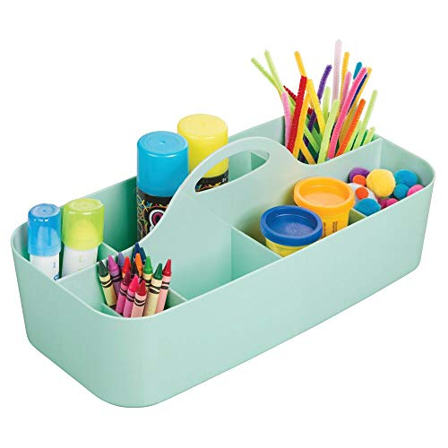 mDesign Plastic Portable Craft Storage Organizer Caddy Tote, Divided Basket Bin with Handle for Craft, Sewing, Art Supplies - Holds Paint Brushes, Colored Pencils, Stickers, Glue, X-Large - Mint Green ()