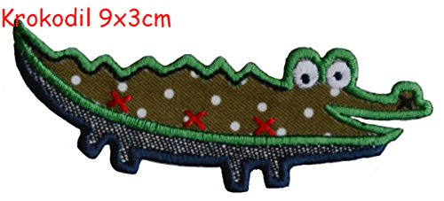 2 Pcs Iron On Patches Motif Applique Kids Giraffe 5x9,5 and Crocodile 9x3cm - Decoration DIY for Jeans, clothing embroidery fabric appliques by TrickyBoo Design ()