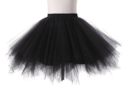 Poplarboy Women's Mini Colorful Ballet Petticoat Skirt Tulle Rainbow Multi Layer Prom Evening Skirts Black