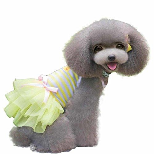 HP95(TM) 2015 Sweet Lovely Puppy Dog Princess Dress Dog Camisole Gauze Skirt Pet Dog Tutu Dress (Yellow, M)
